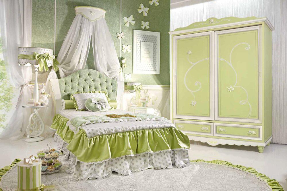 zielona i bardzo luksusowa sypialnia dla dziewczynek