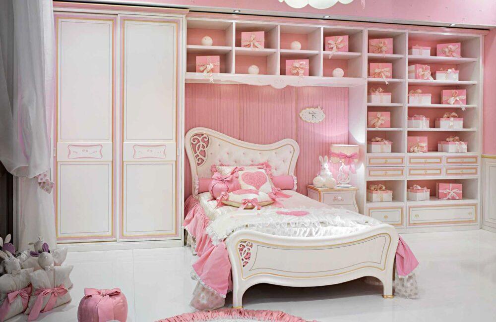 Włoskie eleganckie sypialnie dla małych dziewczynek
